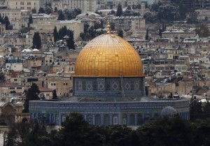 Snow on the Dome of the Rock in the compound known to Muslims as Noble Sanctuary and to Jews as Temple Mount, in Jerusalem's Old City is seen from the Mount of Olives
