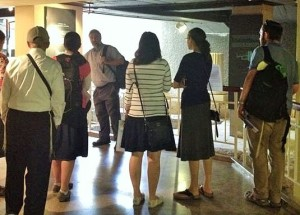 rabbi haber guiding in museum